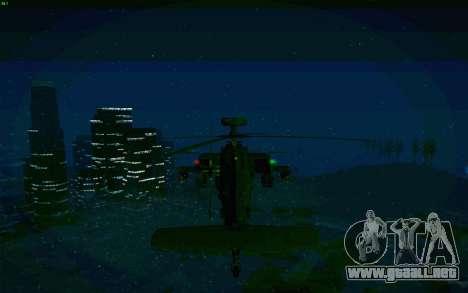 AH-64 Apache para GTA San Andreas vista hacia atrás