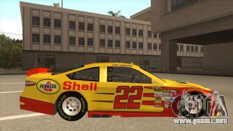 Ford Fusion NASCAR No. 22 Shell Pennzoil para GTA San Andreas vista posterior izquierda