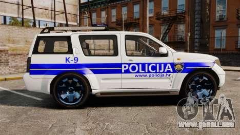 Nissan Pathfinder Croatian Police [ELS] para GTA 4 left