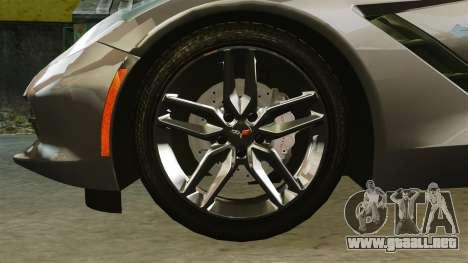 Chevrolet Corvette C7 Stingray 2014 para GTA 4 vista hacia atrás