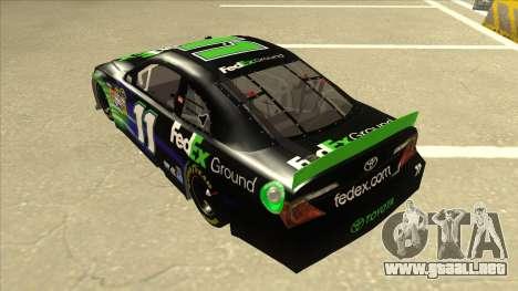 Toyota Camry NASCAR No. 11 FedEx Ground para GTA San Andreas vista hacia atrás
