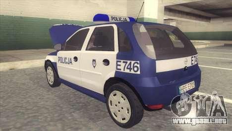 Opel Corsa C Policja para GTA San Andreas vista posterior izquierda
