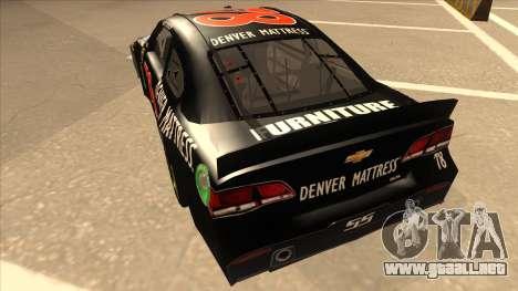 Chevrolet SS NASCAR No. 78 Furniture Row para GTA San Andreas vista hacia atrás