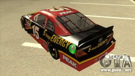 Toyota Camry NASCAR No. 15 5-hour Energy para GTA San Andreas vista hacia atrás