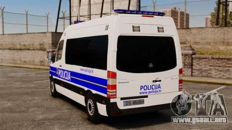 Mercedes-Benz Sprinter Croatian Police [ELS] para GTA 4 Vista posterior izquierda
