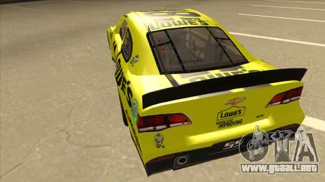 Chevrolet SS NASCAR No. 48 Lowes yellow para GTA San Andreas vista hacia atrás