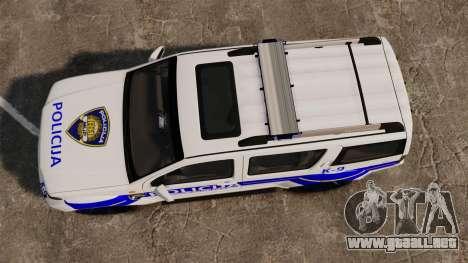 Nissan Pathfinder Croatian Police [ELS] para GTA 4 visión correcta