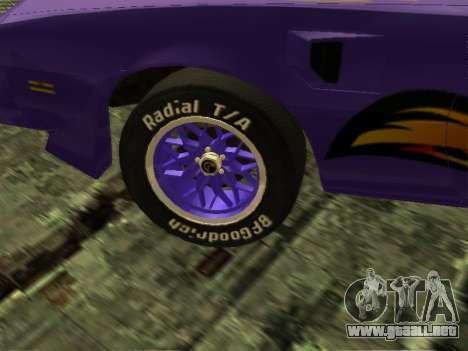 Pontiac Firebird Overhaulin para la visión correcta GTA San Andreas