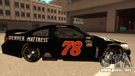 Chevrolet SS NASCAR No. 78 Furniture Row para GTA San Andreas vista posterior izquierda