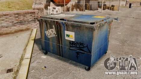 Contenedores de basura, Waste Management Inc. para GTA 4 adelante de pantalla