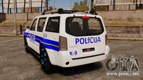 Nissan Pathfinder Croatian Police [ELS] para GTA 4 Vista posterior izquierda