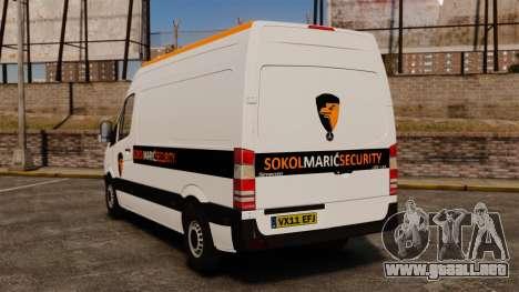 Mercedes-Benz Sprinter Sokol Maric Security para GTA 4 Vista posterior izquierda