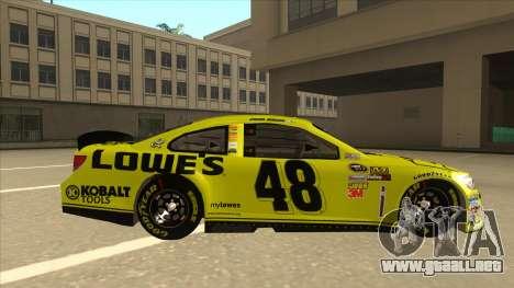 Chevrolet SS NASCAR No. 48 Lowes yellow para GTA San Andreas vista posterior izquierda