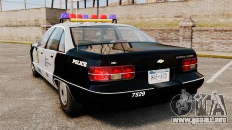 Chevrolet Caprice Police 1991 v2.0 LCPD para GTA 4 Vista posterior izquierda
