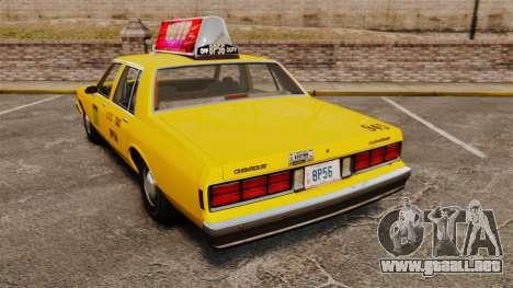 Chevrolet Caprice 1987 L.C.C. Taxi para GTA 4 Vista posterior izquierda