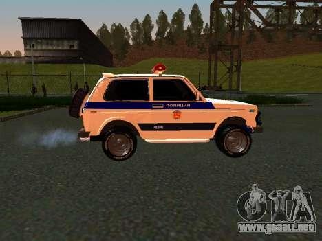 VAZ 212140 policía para GTA San Andreas vista posterior izquierda