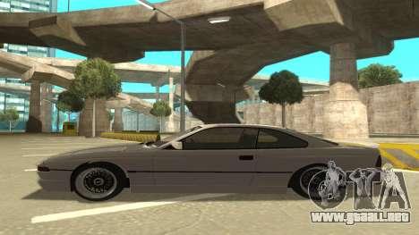 BMW 850CSi 1996 Stock version para GTA San Andreas vista posterior izquierda
