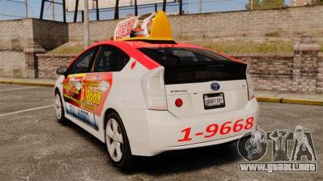 Toyota Prius 2011 Warsaw Taxi v4 para GTA 4 Vista posterior izquierda