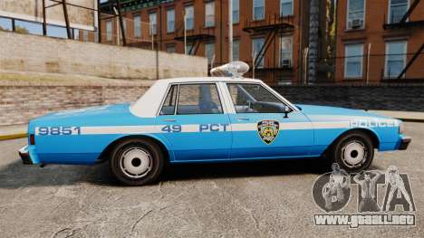 Chevrolet Caprice 1987 NYPD para GTA 4 left