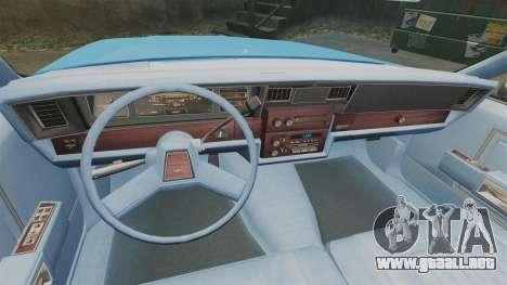 Chevrolet Caprice 1987 NYPD para GTA 4 vista hacia atrás