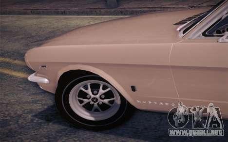 Ford Mustang GT 289 Hardtop Coupe 1965 para GTA San Andreas vista hacia atrás