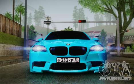 BMW M5 F10 v1 para GTA San Andreas vista posterior izquierda