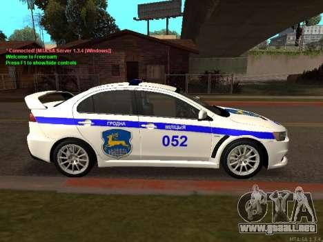 Mitsubishi Lancer X policía para GTA San Andreas vista hacia atrás