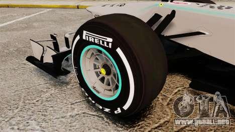 Mercedes AMG F1 W04 v5 para GTA 4 vista hacia atrás
