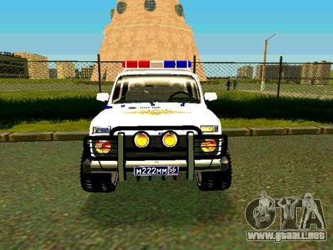 VAZ 212140 policía para GTA San Andreas vista hacia atrás