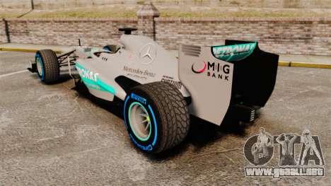 Mercedes AMG F1 W04 v2 para GTA 4 Vista posterior izquierda
