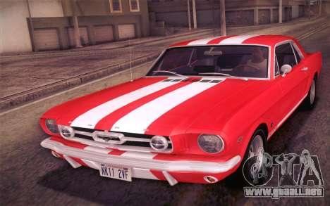 Ford Mustang GT 289 Hardtop Coupe 1965 para las ruedas de GTA San Andreas
