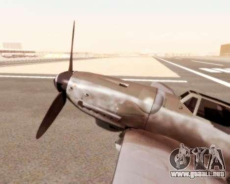 Bf-109 G10 para GTA San Andreas vista posterior izquierda