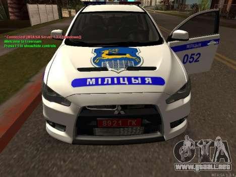 Mitsubishi Lancer X policía para visión interna GTA San Andreas