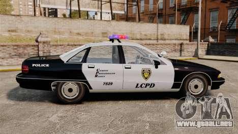 Chevrolet Caprice Police 1991 v2.0 LCPD para GTA 4 left