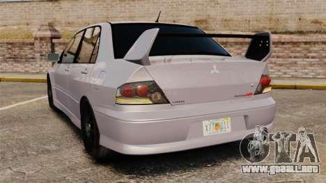 Mitsubitsi Lancer MR Evolution VIII 2004 Stock para GTA 4 Vista posterior izquierda