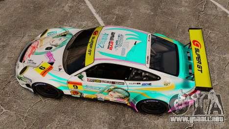 Porsche GT3 RSR 2008 Hatsune Miku para GTA 4 visión correcta