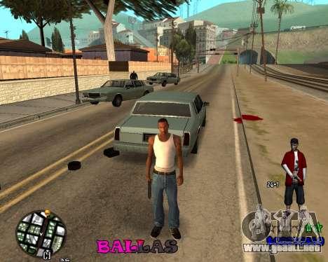 HUD The Ballas By Santiago para GTA San Andreas tercera pantalla