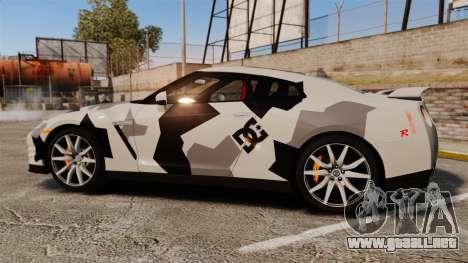 Nissan GT-R Black Edition 2012 Ski Slope Camo para GTA 4 left