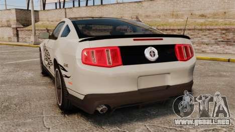 Ford Mustang 2012 Boss 302 Fiery Horse para GTA 4 Vista posterior izquierda