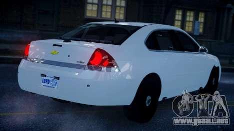 Chevy Impala Unmarked 2010 para GTA 4 left