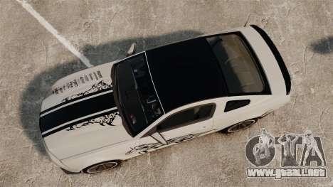 Ford Mustang 2012 Boss 302 Fiery Horse para GTA 4 visión correcta