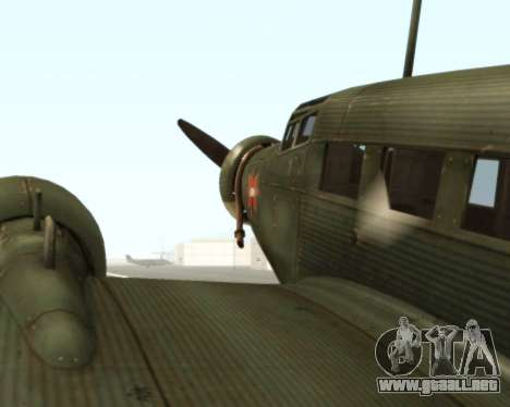 Junkers Ju-52 para GTA San Andreas vista hacia atrás