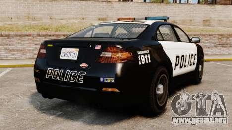 GTA V Vapid Police Interceptor para GTA 4 Vista posterior izquierda