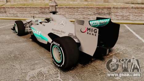 Mercedes AMG F1 W04 v5 para GTA 4 Vista posterior izquierda