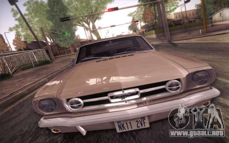 Ford Mustang GT 289 Hardtop Coupe 1965 para visión interna GTA San Andreas