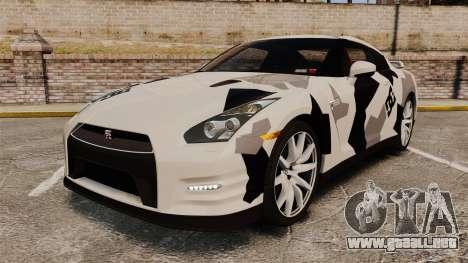 Nissan GT-R Black Edition 2012 Ski Slope Camo para GTA 4