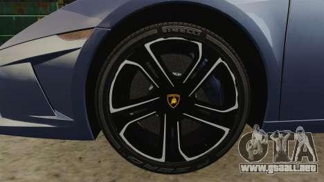 Lamborghini Gallardo 2013 para GTA 4 vista hacia atrás