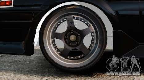Toyota Sprinter Trueno AE86 Drifting para GTA 4 vista hacia atrás
