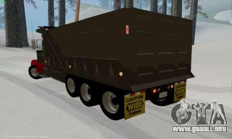 Peterbilt 379 Dump Truck para GTA San Andreas vista posterior izquierda