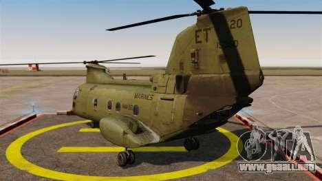 Boeing CH-46D Sea Knight para GTA 4 Vista posterior izquierda